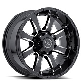 Black Rhino Sierra 9.0x18 8x165 ET-12 d120 Gloss Black Mirror Machine Cut Lip