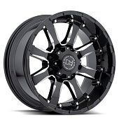 Black Rhino Sierra 9.0x18 8x165 ET12 d120 Gloss Black Mirror Machine Cut Lip